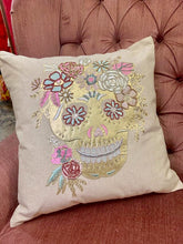 Load image into Gallery viewer, Gold sugar skull pillow