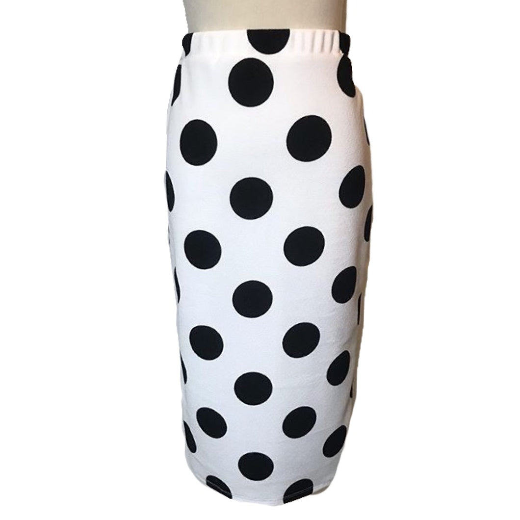 White and Black Polka Dot Wiggle Skirt- Size Medium LAST ONE!