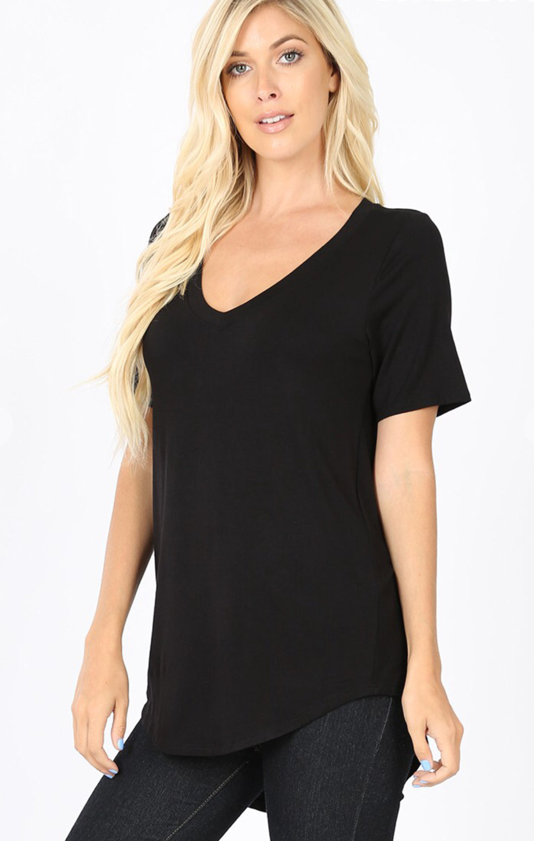 Black V-Neck HiLo Top