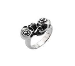Double Skulls with Flowers Ring