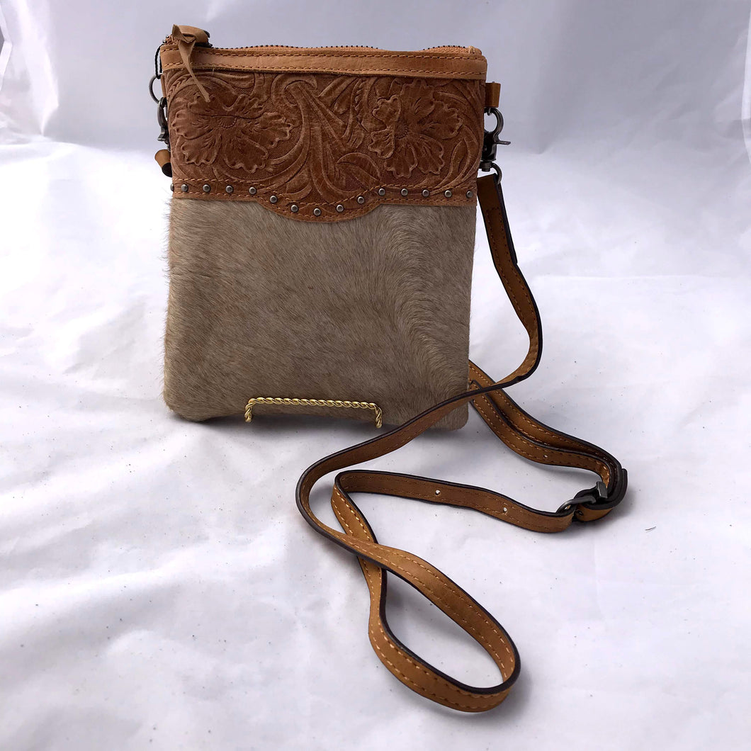 Tan Embossed Leather and Hide Crossbody Purse