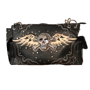 Black Skull with Wings Shoulder Purse