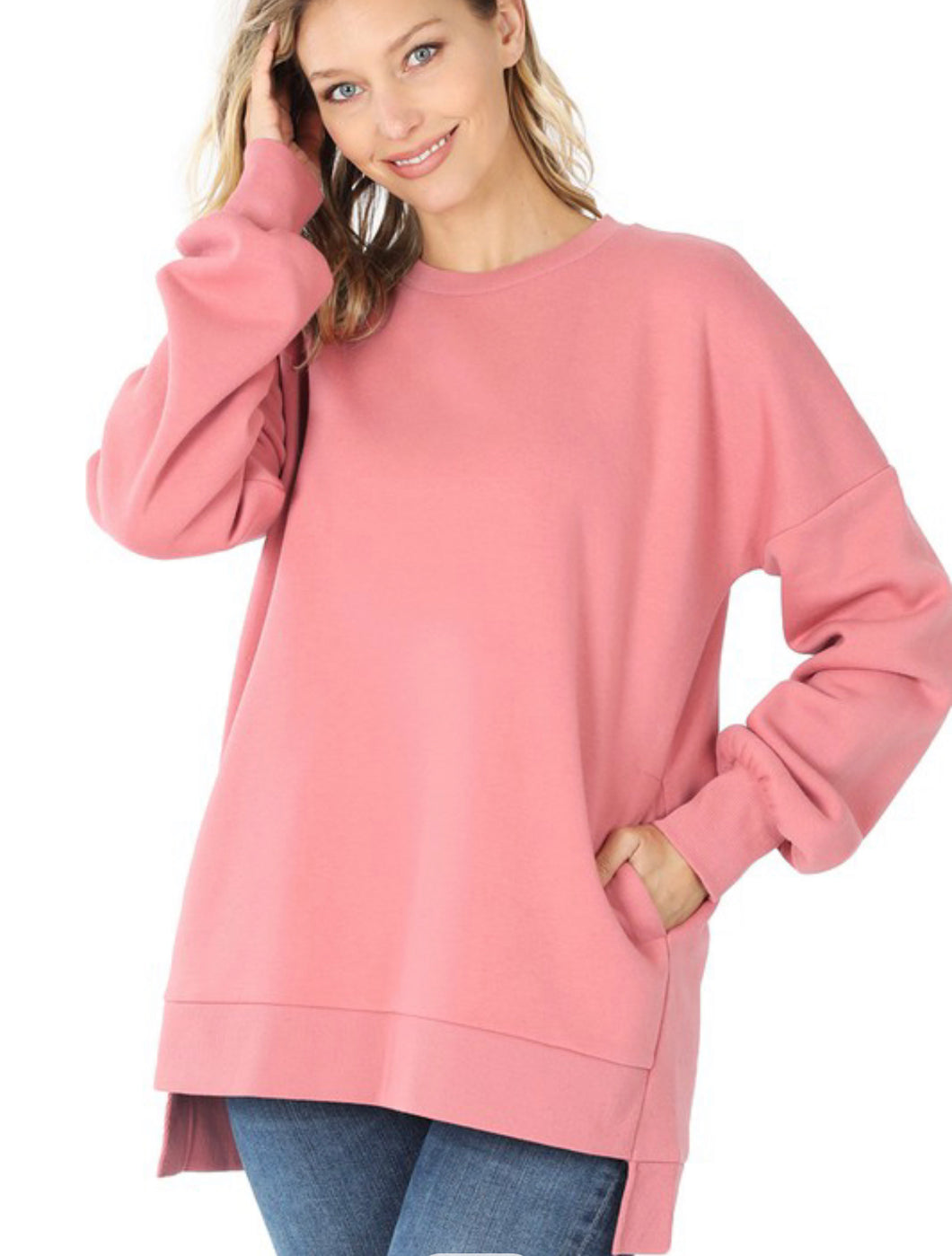Dusty Rose Crew Neck Cozy Sweatshirt