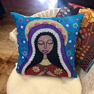 Beaded Madonna Throw Pillow