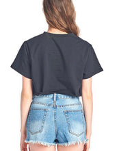 Load image into Gallery viewer, Black Vintage Style Cropped Tee Top