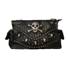 Load image into Gallery viewer, Black Skull Embossed Shoulder Bag