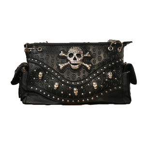 Black Skull Embossed Shoulder Bag