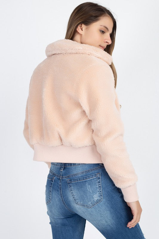 faux fur cropped jacket blush pink