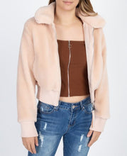 Load image into Gallery viewer, faux fur cropped jacket blush pink