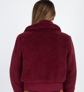 faux fur cropped jacket burgundy