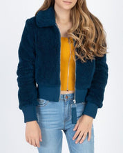 Load image into Gallery viewer, teal cropped faux fur bomber jacket