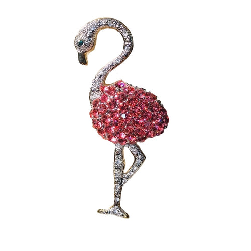 pink and clear crystal flamingo brooch