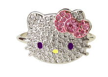 Load image into Gallery viewer, Hello Kitty Large Crystal Double Finger Ring with Bow
