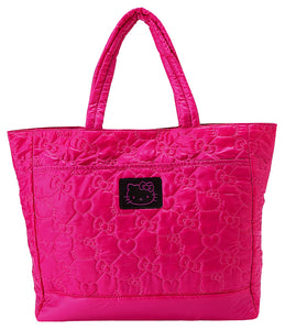 quilted bow hello kitty tote hot pink