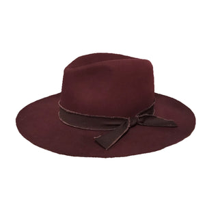 Burgundy Panama Hat with Adventure Strip