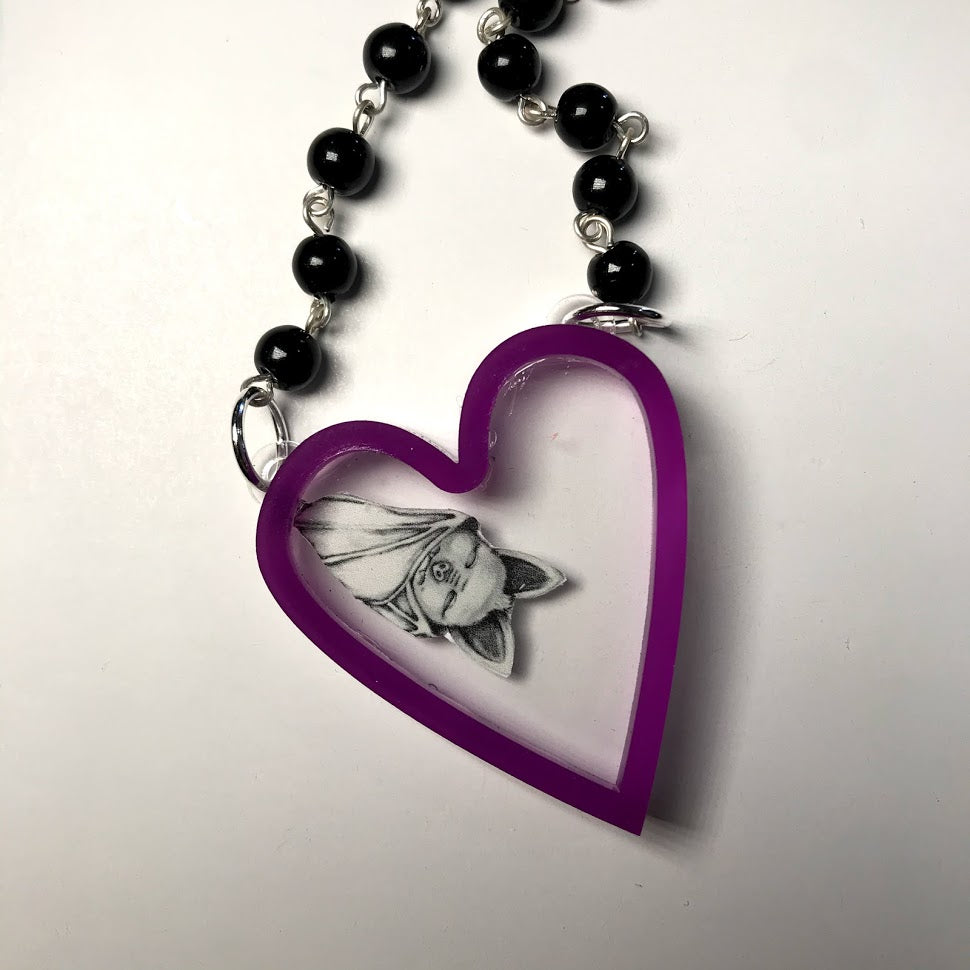 Sleepy Bat Heart Necklace