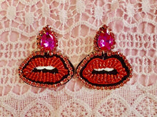 Load image into Gallery viewer, Beaded Kiss Statement Earrings