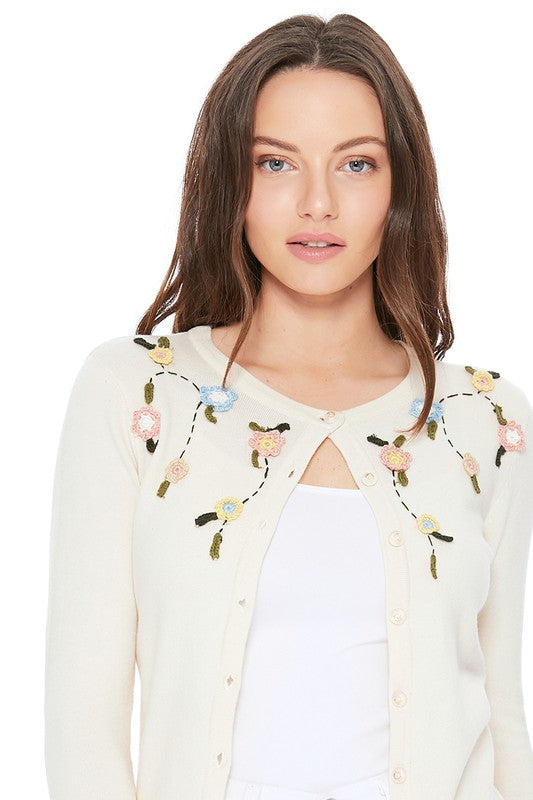 Beige Embroidered Flower Cardigan