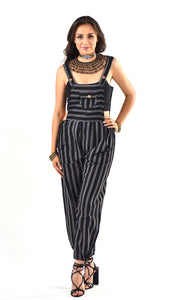 Black Striped Overalls