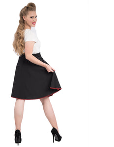 Peggie Black Swing Skirt with Red Trim
