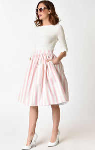 Pink and White Striped Swing Skirt