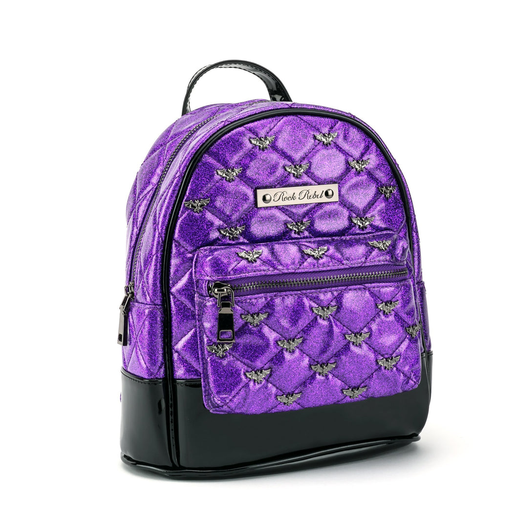 Purple Glitter Quilted Bat Studded Mini Backpack