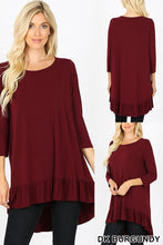 Load image into Gallery viewer, Burgundy 3/4 Length Sleeve Dress with Ruffle Hem