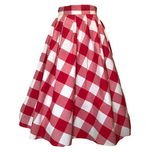 Red and White Plaid Skirt
