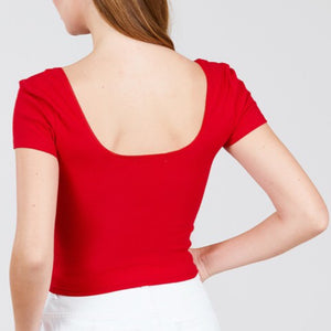 Red Ribbed Crop Top
