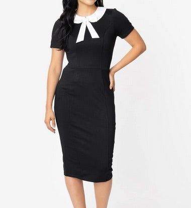 Black and White Collar Renata Pencil Dress