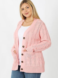 baby pink cable knit cardigan