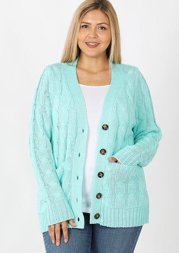 Mint cable knit cardigan