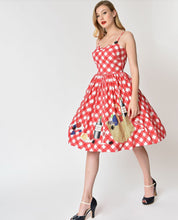 Load image into Gallery viewer, unique vintage red gingham picnic dress