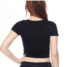 Load image into Gallery viewer, Black Wrap Crop Top