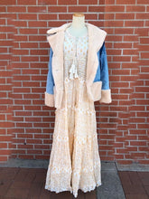 Load image into Gallery viewer, Tiered Beige Floral Maxi Dress