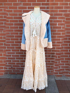 Tiered Beige Floral Maxi Dress