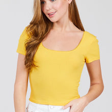 Load image into Gallery viewer, Yellow Ribbed Crop Top