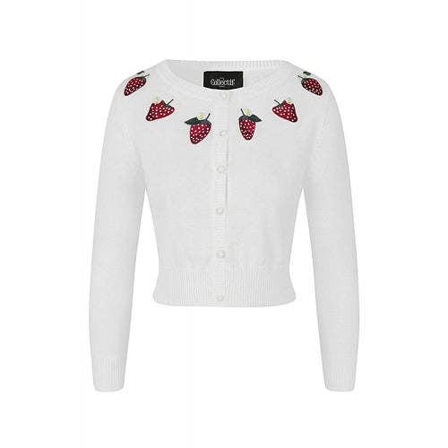 embroidered white strawberry cardigan
