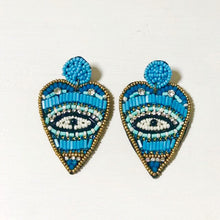 Load image into Gallery viewer, Blue beaded evil eye earrings