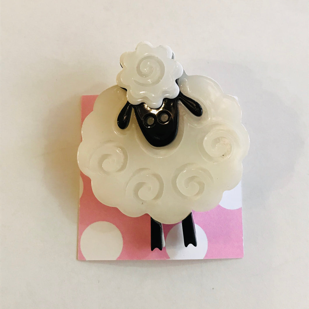 Sheepy Acrylic Statement Brooch