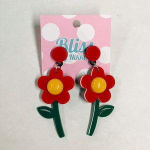 Plucked Flower Acrylic Statement Earrings