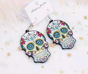 Detailed Sugar Skull Acrylic Statement Earrings