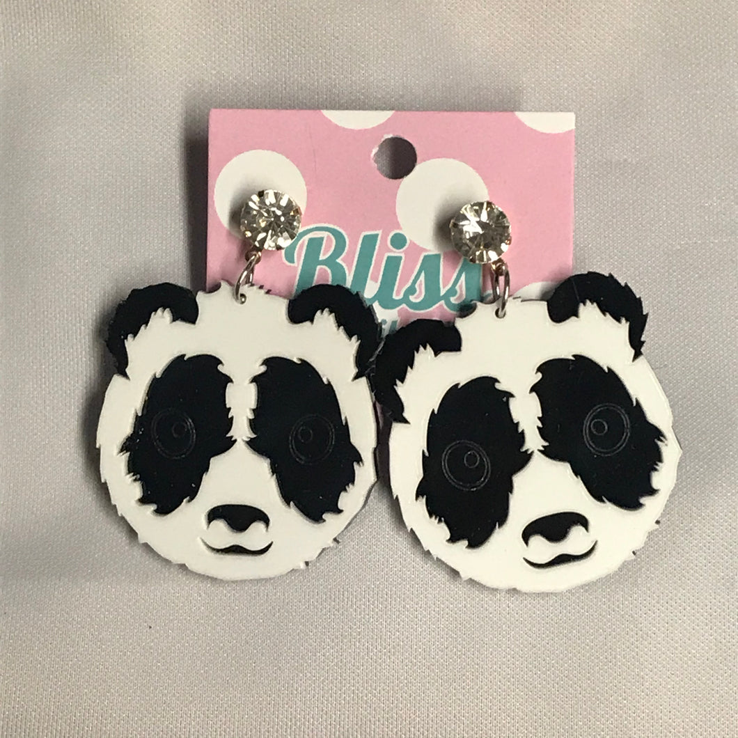 Panda Bear Acrylic Statement Earrings