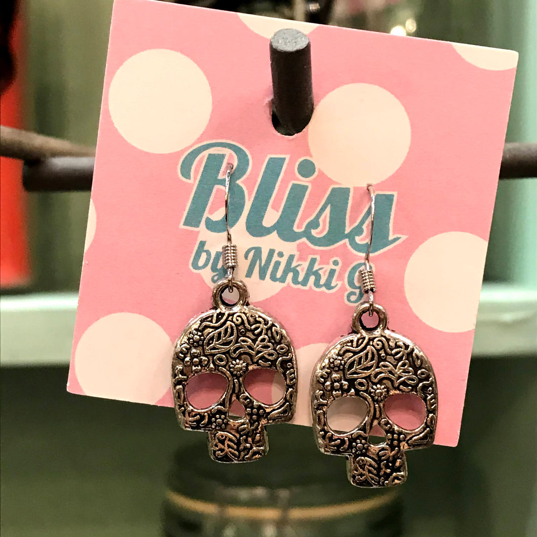Floral Embossed Skull Charm Earrings