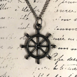 Big Boat Wheel Charm Necklace
