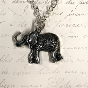 Big Eared Engraved Elephant Charm Necklace
