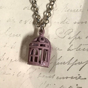 Bird Cage Charm Necklace