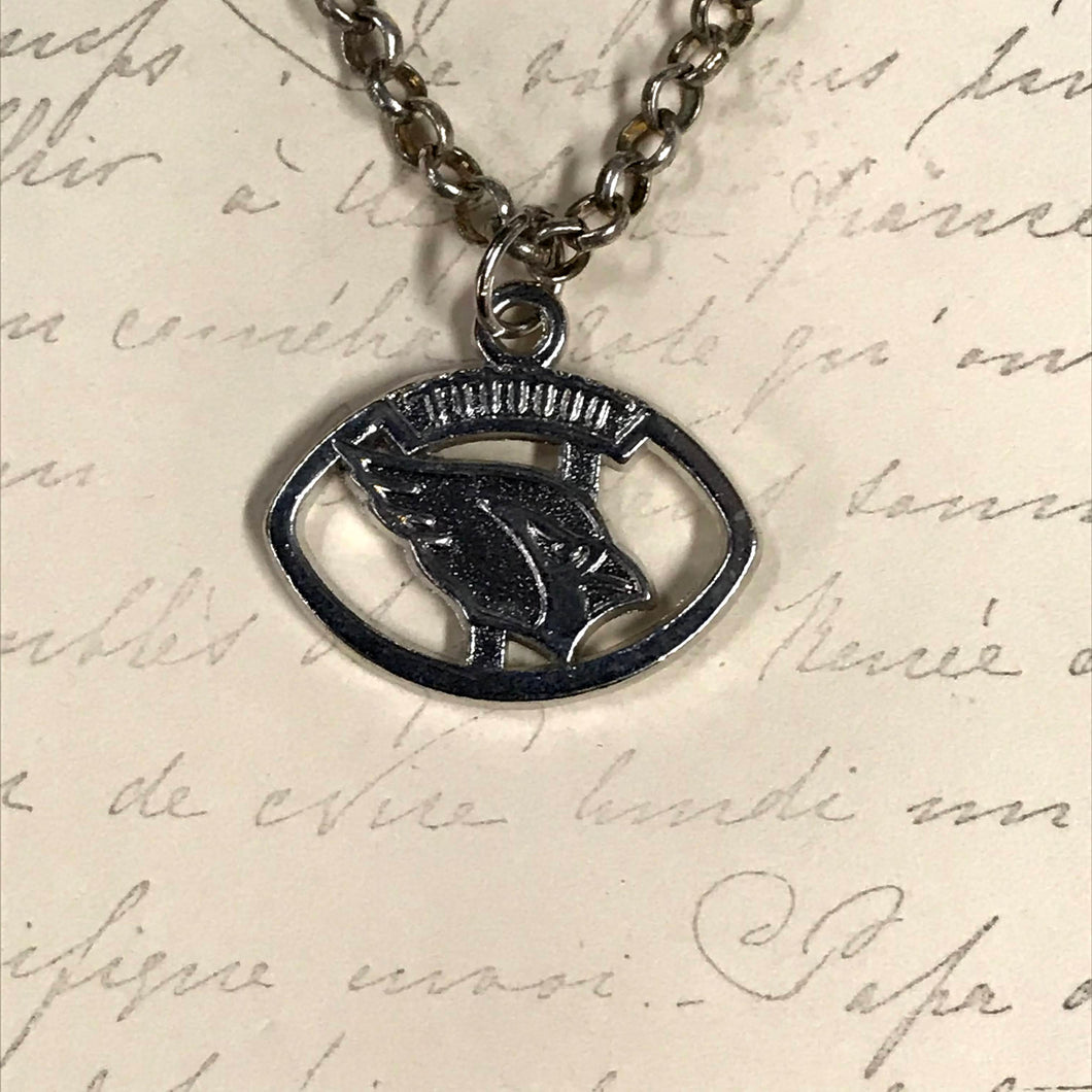 Cardinals Logo In Football Charm Necklace