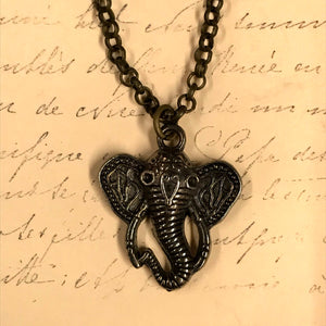 Decorated Elephant Face Charm Necklace
