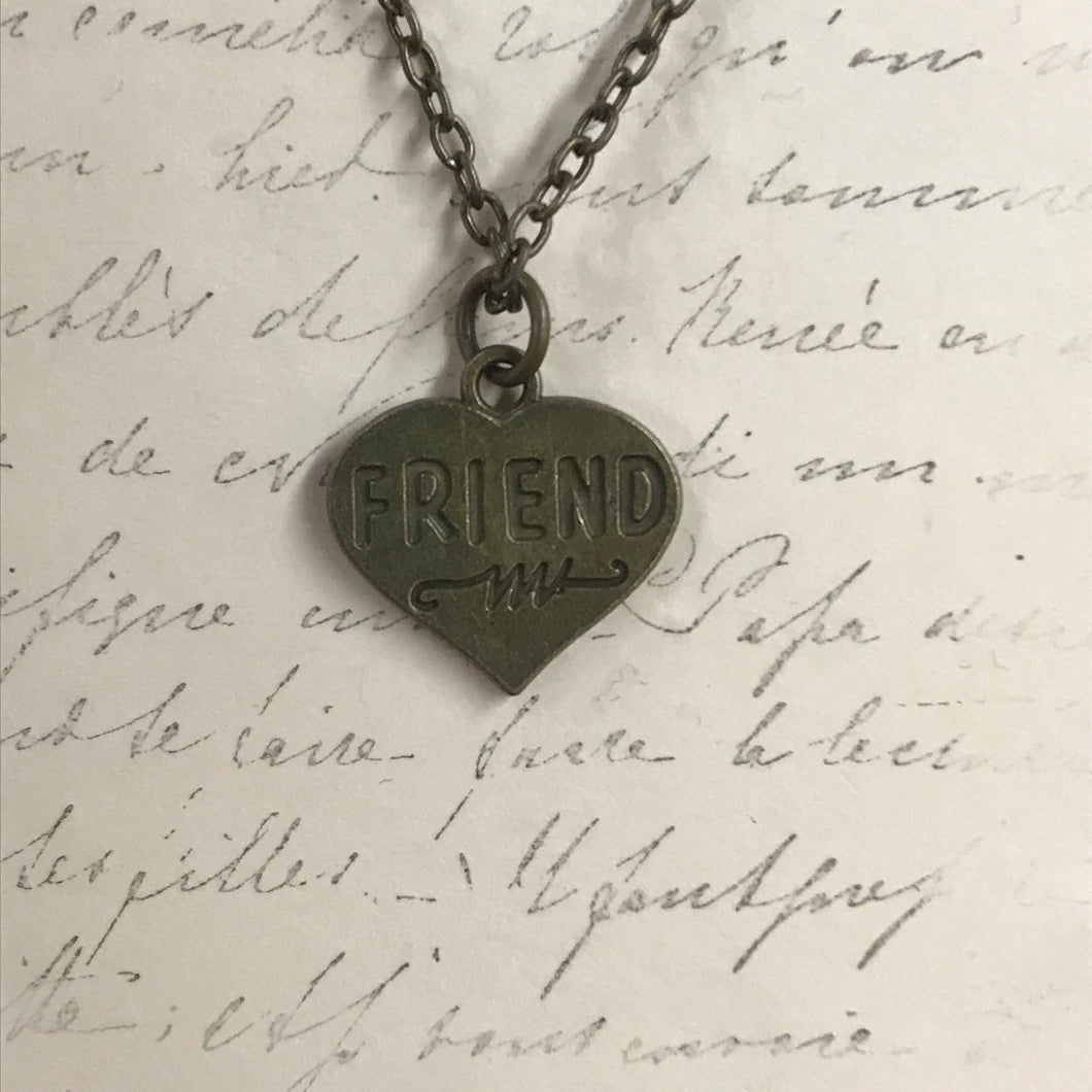 Friend Heart Charm Necklace
